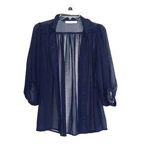 MINKPINK Blue Sheer Button Down Blouse